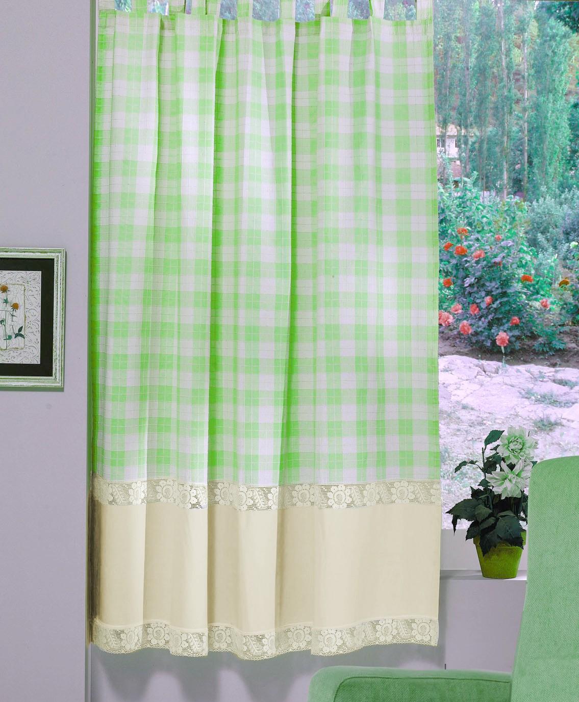 Perdea Confectionata Valentini Bianco Pr009 Verde