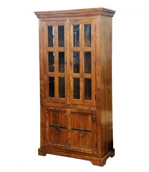 Dulap-cu-vitrina-din-lemn-masiv-96x40x195cm