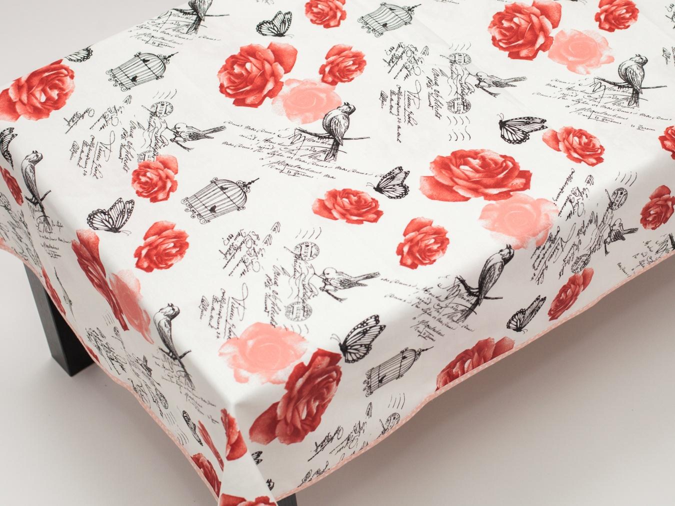 Fata De Masa Teflonata Valentini Bianco Red Roses V03-5047