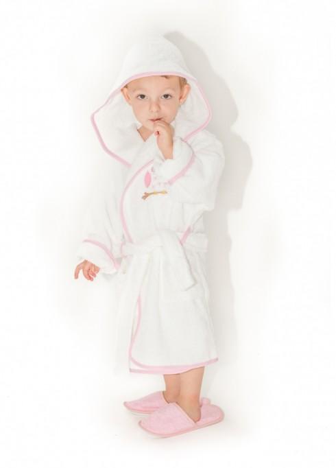 Halat-de-baie-copii-2-4-ani-Owl-Alb-