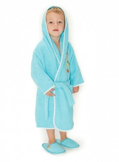Halat-de-baie-copii-4-6-ani-Bug-Turquise-deschis