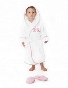 Halat-de-baie-copii-4-6-ani-Rabbit-Alb-cu-bleo--