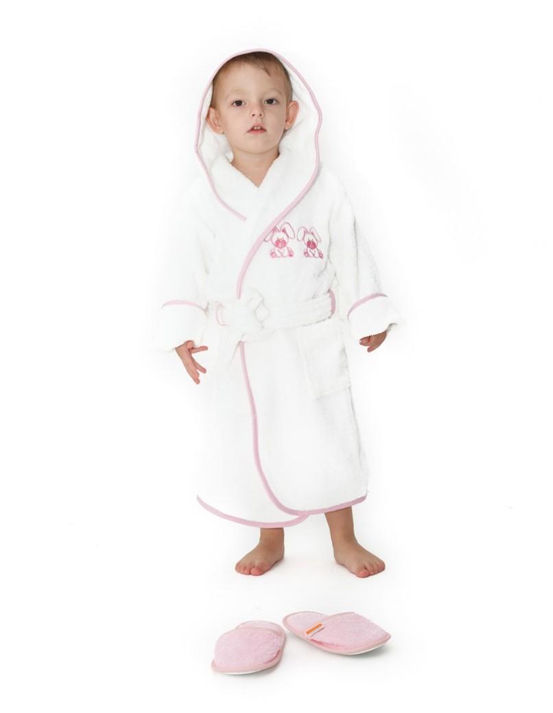 Halat De Baie Copii Valentini Bianco 4-6 Ani Valentini Bianco Rabbit Alb Cu Bleo