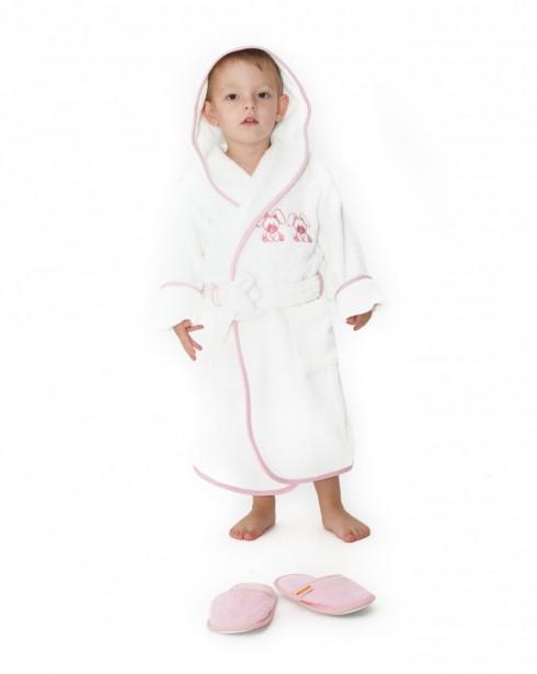 Halat-de-baie-copii-4-6-ani-Rabbit-Alb-cu-roz