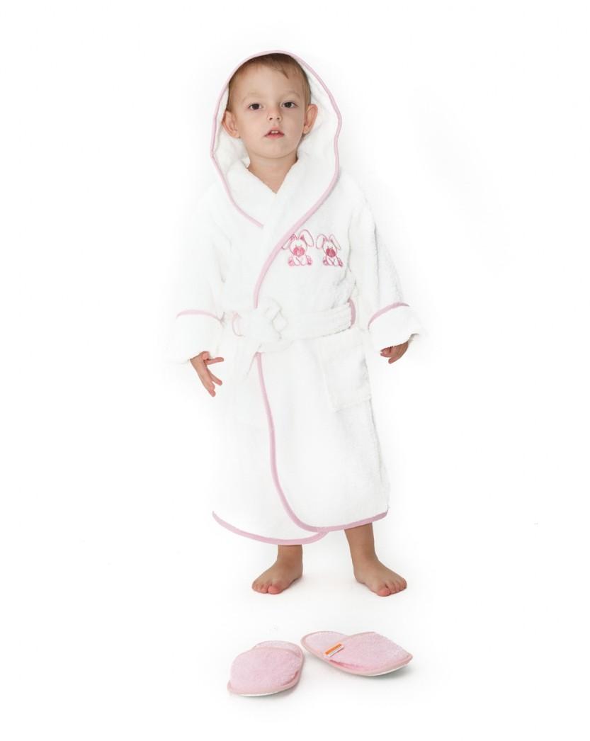 Halat De Baie Copii Valentini Bianco 4-6 Ani Rabbit Alb Cu Roz