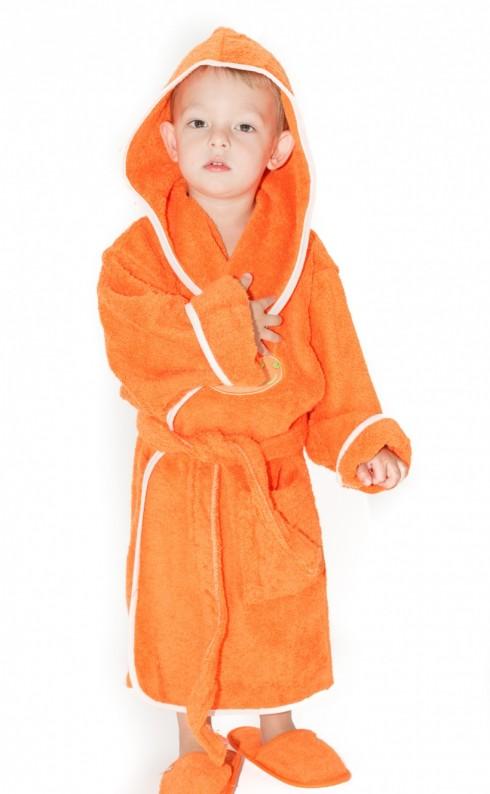 Halat-de-baie-copii-4-6-ani-Snail-Portocaliu
