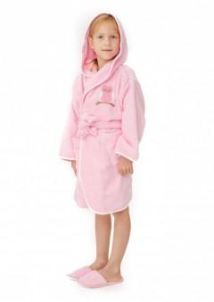 Halat-de-baie-copii-6-8-ani-Owl-Roz