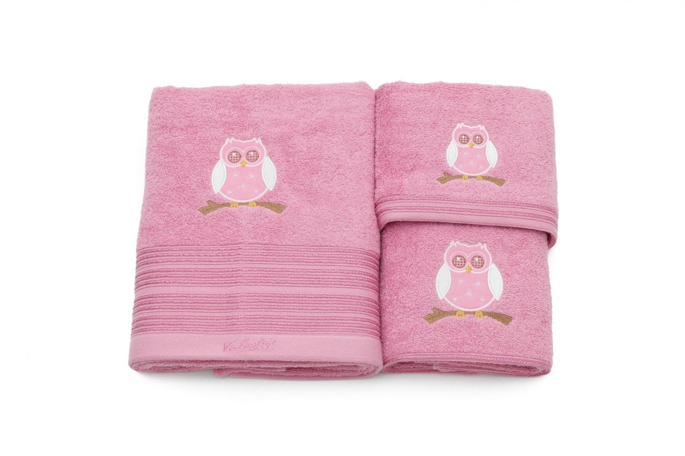 Set De 3 Prosoape Pentru Copii Valentini Bianco Roz Tbr06c-2131 Owl