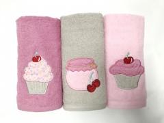 KZ300-Roz Set de 3 prosoape bucătărie Valentini Bianco