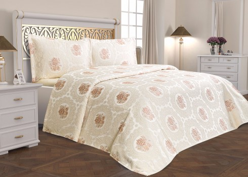TH-Rosa Somon Cuvertura de pat Valentini Bianco