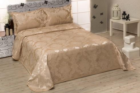 TH-Chenille beige   Cuvertura de pat Valentini Bianco