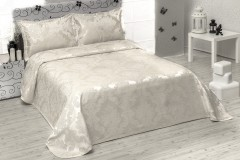 TH-Chenille cream   Cuvertura de pat Valentini Bianco